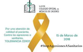 Cartel agresiones Colegio Médicos de Cáceres