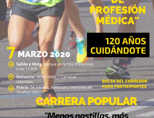 El Colegio de Médicos de Cáceres celebra su 120 aniversario con la carrera popular «Menos pastillas, más zapatillas» en Plasencia