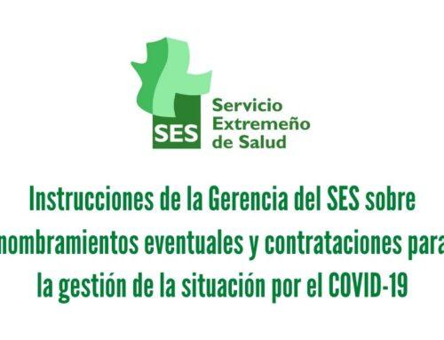 Instrucciones de la Gerencia del SES sobre nombramientos eventuales y contrataciones para la gestión de la situación por el COVID-19