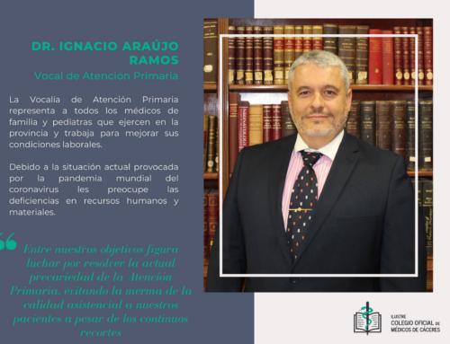 Conoce las Vocalías del Colegio de Médicos y a sus representantes. Hoy te presentamos al Dr. Ignacio Araujo Ramos, vocal de Atención Primaria